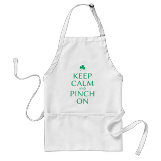 Keep Calm and Pinch On St. Patty's Day Saying Adult Apron