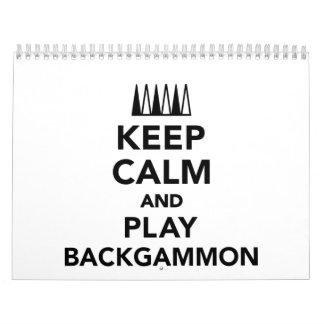 Keep calm and play Backgammon Calendar