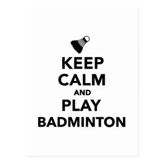 Keep calm and play Badminton Postcard