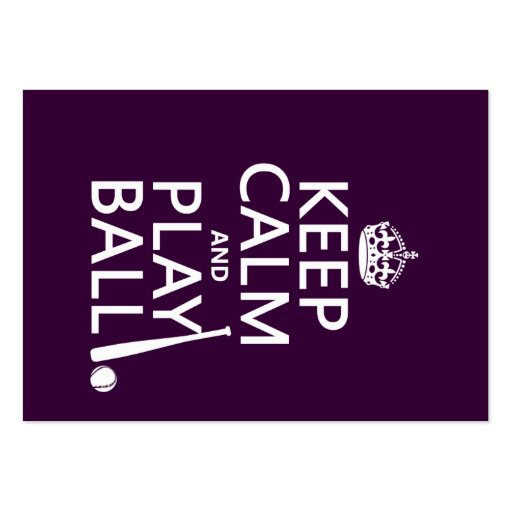 Keep Calm and Play Ball (baseball) (any color) Large Business Cards (Pack Of 100)