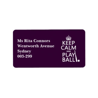 Keep Calm and Play Ball baseball any color Custom Address Labels