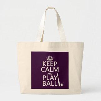 Keep Calm and Play Ball (baseball) (any color) Large Tote Bag