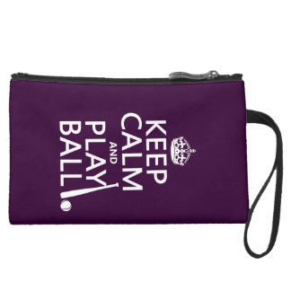 Keep Calm and Play Ball (baseball) (any color) Suede Wristlet Wallet