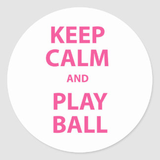 Keep Calm and Play Ball Classic Round Sticker