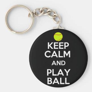 Keep Calm and Play Ball! Basic Round Button Keychain