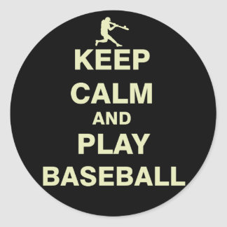 Keep Calm and Play Baseball Classic Round Sticker