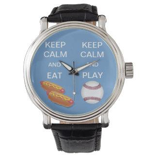 KEEP CALM AND PLAY BASEBALL/EAT HOTDOGS WRIST WATCHES