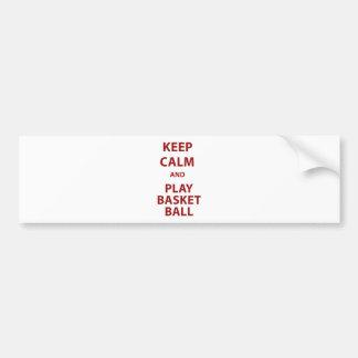 Keep Calm and Play Basketball Bumper Sticker
