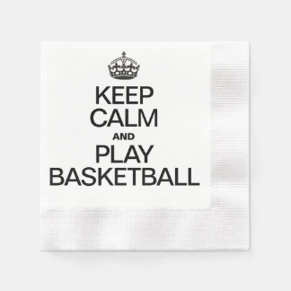 Keep Calm and Play Basketball Coined Cocktail Napkin
