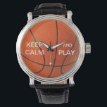 """KEEP CALM AND PLAY BASKETBALL WATCH<br><div class=""""desc"""">KEEP CALM AND PLAY BASKETBALL WATCH The Vintage eWatchFactory Watch is a big-faced timepiece that will never go out of style. Featuring a three-hand quartz movement and genuine leather strap, this watch's classic look is great for formal or fun occasions. Customize the face with your name and designs to make...</div>"""