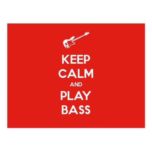 Keep Calm and Play Bass Post Card