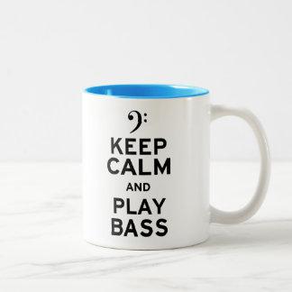 Keep Calm and Play Bass Two-Tone Coffee Mug