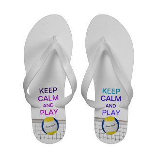 Keep Calm and Play Beach Volleyball Flip Flops