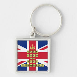 Keep Calm And Play Board Games Silver-Colored Square Keychain