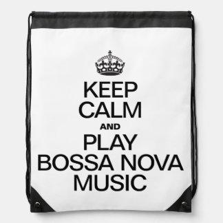 KEEP CALM AND PLAY BOSSA NOVA MUSIC BACKPACK