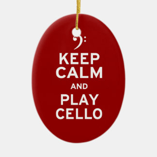 Keep Calm and Play Cello Double-Sided Oval Ceramic Christmas Ornament