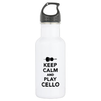 Keep calm and Play Cello Stainless Steel Water Bottle