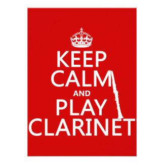 Keep Calm and Play Clarinet (any background color) Custom Announcements