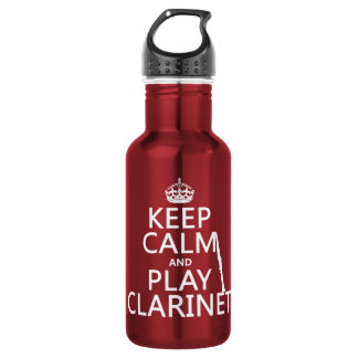 Keep Calm and Play Clarinet (any background color) Stainless Steel Water Bottle