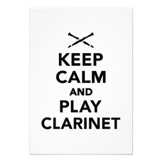 Keep calm and Play clarinet Invite