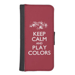 iPhone 5/5s Wallet Case with Keep Calm and Play Colors design