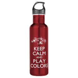 Water Bottle (24 oz) with Keep Calm and Play Colors design