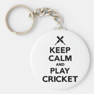 Keep calm and play Cricket Basic Round Button Keychain