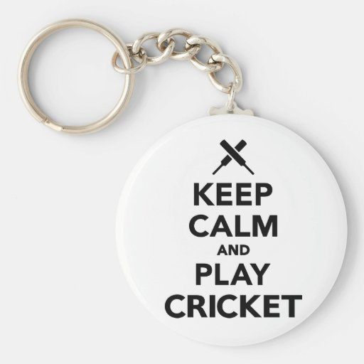 Keep calm and play Cricket Key Chain