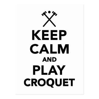 Keep calm and play Croquet Postcard