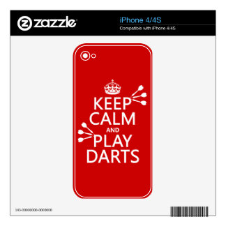 Keep Calm and Play Darts (customisable color) iPhone 4S Decals