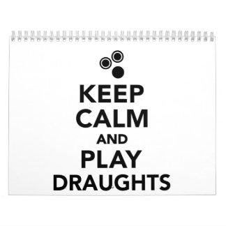 Keep calm and play draughts calendar
