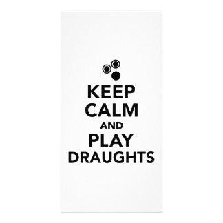 Keep calm and play draughts photo card