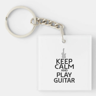 Keep Calm and Play Electric Guitar - Custom Color Keychain