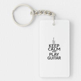 Keep Calm and Play Electric Guitar - Custom Color Keychain