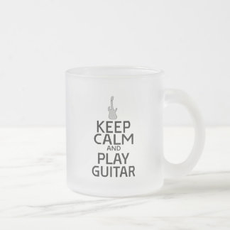 Keep Calm and Play Electric Guitar Frosted Glass Coffee Mug
