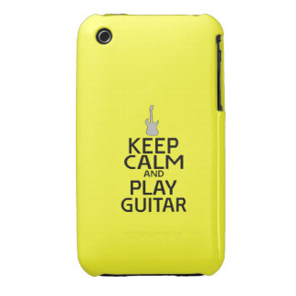 Keep Calm and Play Electric Guitar - on Yellow Case-Mate iPhone 3 Case