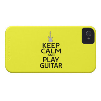 Keep Calm and Play Electric Guitar - on Yellow iPhone 4 Case-Mate Case