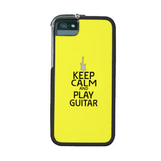Keep Calm and Play Electric Guitar - on Yellow iPhone 5 Cover