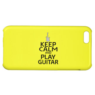 Keep Calm and Play Electric Guitar - on Yellow Cover For iPhone 5C