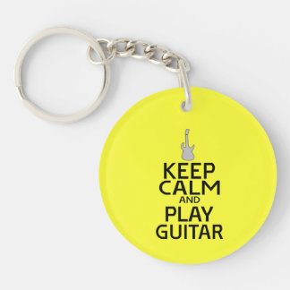 Keep Calm and Play Electric Guitar - on Yellow Keychain