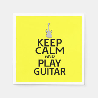 Keep Calm and Play Electric Guitar - on Yellow Napkin