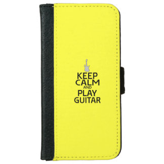 Keep Calm and Play Electric Guitar - on Yellow iPhone 6 Wallet Case