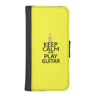 Keep Calm and Play Electric Guitar - on Yellow Phone Wallet Case