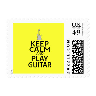 Keep Calm and Play Electric Guitar - on Yellow Postage