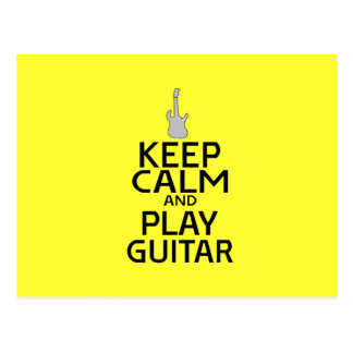 Keep Calm and Play Electric Guitar - on Yellow Postcard