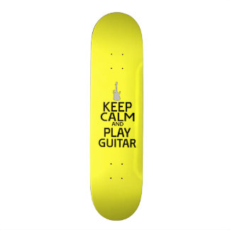 Keep Calm and Play Electric Guitar - on Yellow Skateboard