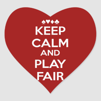 Keep Calm And Play Fair Heart Sticker