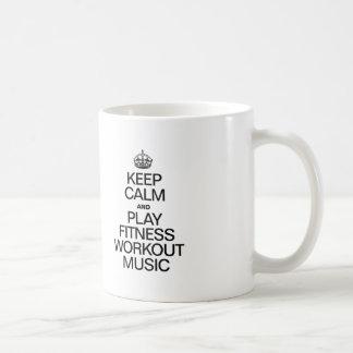 KEEP CALM AND PLAY FITNESS WORKOUT MUSIC COFFEE MUG
