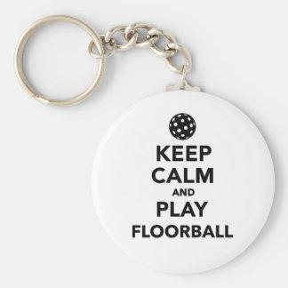 Keep calm and play Floorball Basic Round Button Keychain