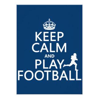 Keep Calm and Play Football (customizable color) Custom Invitations
